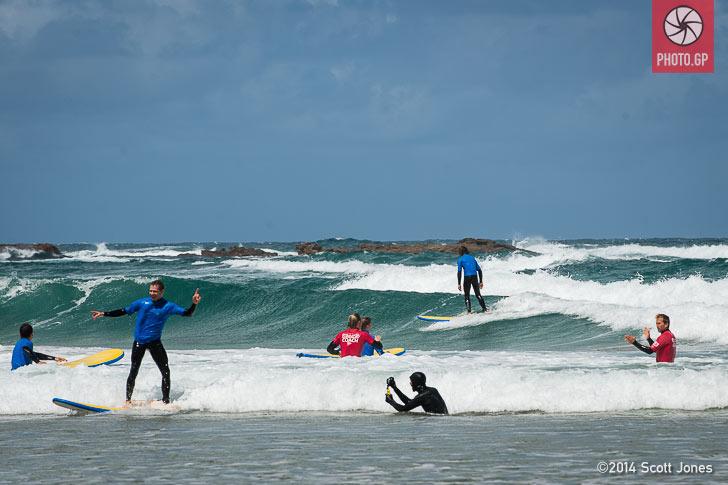 Stefan Bradl surfs at Phillip Island