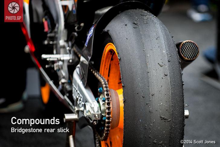 Bridgestone asymmetric rear slick tire valencia 2014