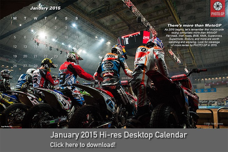 January 2015 desktop calendar Superprestigio Marc Marquez