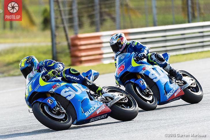 Aleix Espargaro Maverick Vinales Suzuki MotoGP Sepang Test 2015 Darren Marlowe