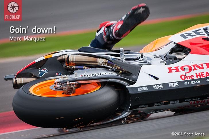 Marc Marquez crash silverstone 2014 honda