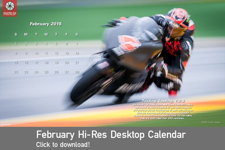 February desktop calendar PHOTO.GP Ducati Andrea Dovizioso