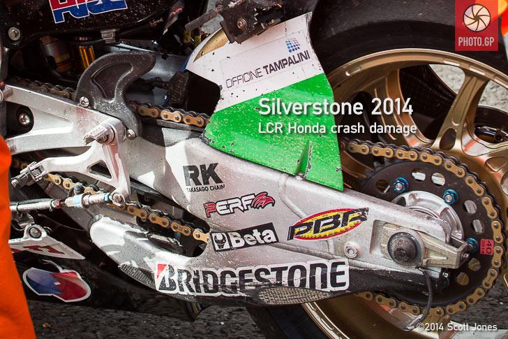 Stefan Bradl LCR Honda Silverstone crash damage 2014