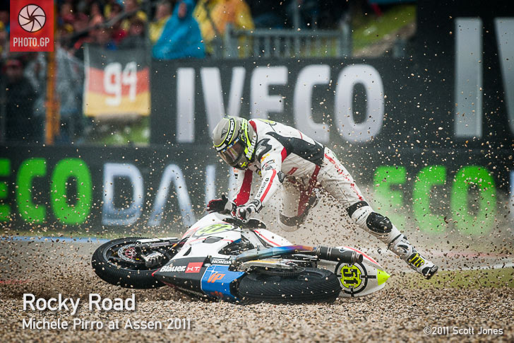 Michele Pirro crash Assen 2011