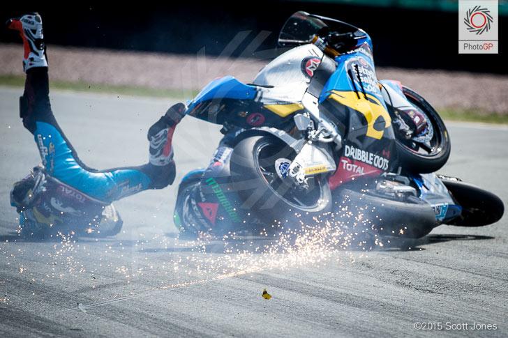 Sachsenring 2015 Morbidelli Rabat crash